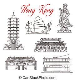 symboles, repères, kong, célèbre, hong, architecture