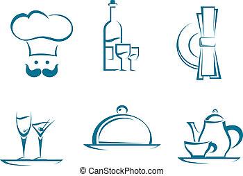 symboles, restaurant, icônes