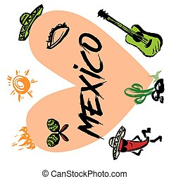 symboles, rigolote, amour, carte, traditionnel, mexique