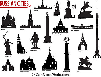 symboles, russe, villes