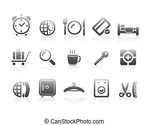 symboles, série, hôtel, silhouette