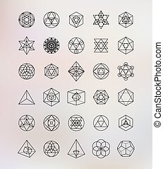 symboles, sacré, geometry., alchimie, hipster