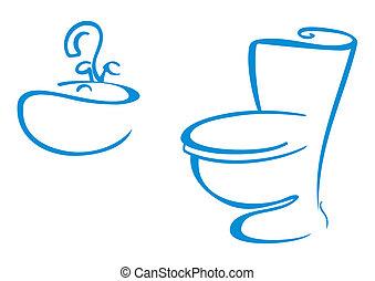 symboles, salle bains