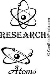 symboles, science, modèles, atome
