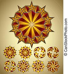 symboles, set., étoiles