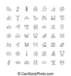 symboles, signes, ensemble, est, linéaire, illustration, ...