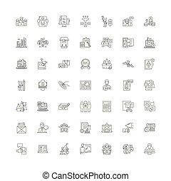 symboles, signes, ensemble, linéaire, illustration, icônes,...