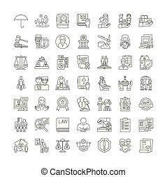 symboles, signes, ensemble, linéaire, illustration, ...