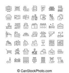 symboles, signes, ensemble, linéaire, illustration,...