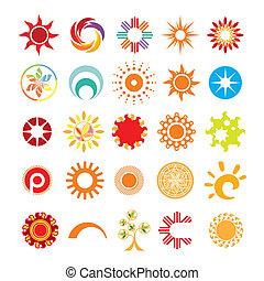 symboles, soleil, résumé, collection