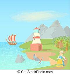 symboles, style, concept, voyage, suède, dessin animé