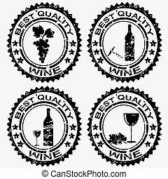 symboles, tampons, grunge, vin
