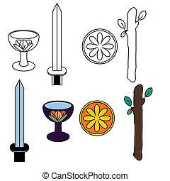 symboles, tarot, complet