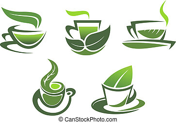 symboles, thé, emblèmes, vert
