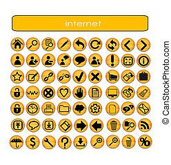 symboles, toile, ensemble, orange couleur