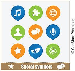 symboles, toile, ensemble, social, média