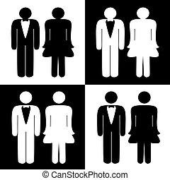 symboles, toilette, vecteur