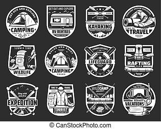 symboles, tourisme voyage, isolé, signes