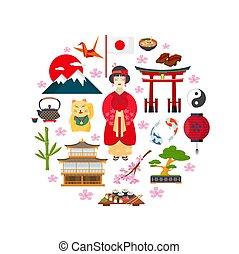 symboles, traditionnel, japonaise