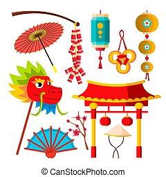 symboles, umbrella., chinois, lampes poche, japonaise, icônes, ventilateur, plat, isolé, dragon, sakura, illustration, vector., dessin animé