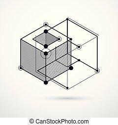 symboles, usage, art graphique, toile, simple, résumé, composition, figures, arrière-plan., ingénierie, vecteur, noir, géométrique, technique, traite, plan, blanc, design.
