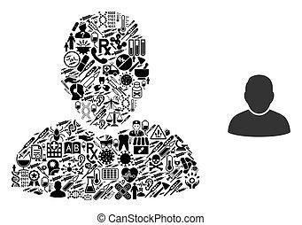 symboles, utilisateur, mosaïque, healthcare