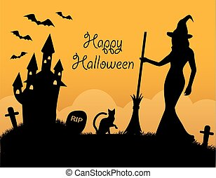 symboles, vacances, halloween, carte
