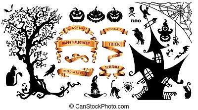 symboles, vacances, halloween, fond, heureux