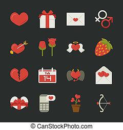 symboles, valentine, amour, jour, icônes, conception, plat