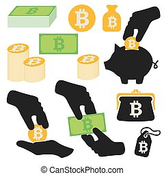 symboles, vecteur, ensemble, bitcoin, icônes