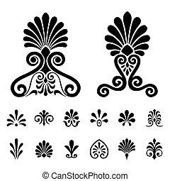 symboles, vecteur, ensemble, palmettes, éléments