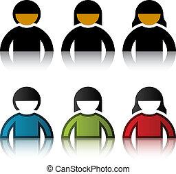 symboles, vecteur, mâle, utilisateur, femme