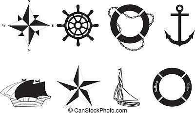 symboles, vecteur, -, nautique
