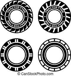 symboles, vecteur, noir, tracteur, pneu