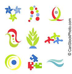 symboles, vecteur, ou, icônes