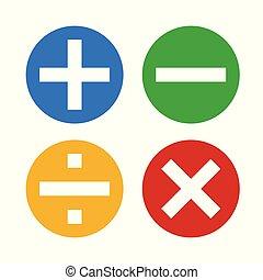 symboles, vector?and, math, icônes