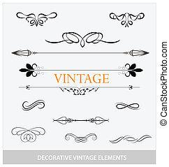 symboles, vendange, ensemble, elemets, calligraphic