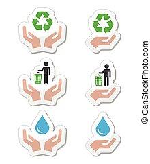symboles, vert, écologie, mains