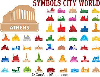 symboles, ville, mondiale