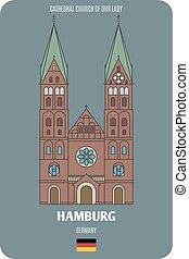 symboles, villes, cathédrale, dame, hambourg, germany., notre, architectural, église, européen