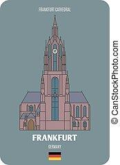 symboles, villes, germany., francfort, cathédrale, architectural, européen, francfort