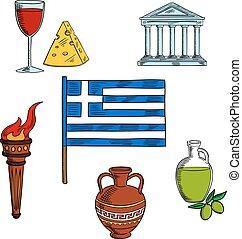 symboles, voyage, conception, grèce