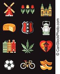 symboles, voyage, pays-bas