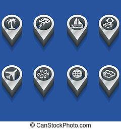 symboles, voyage, temps, 3d