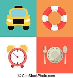 symboles, voyage, vacances, collection