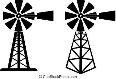 symboles, windpump, vecteur, rural