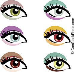 symboles, yeux, ensemble, vecteur, maquillage