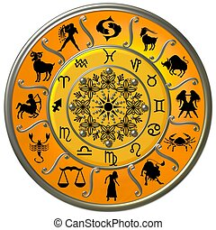 symboles, zodiaque, disque, signes