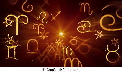 symboles, zodiaque, dos, boucle, briller