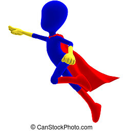 symbolic 3d male toon character as a super hero. 3D rendering with clipping path and shadow over white